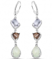 Prehnite and Smokey Quartz Dangle .925 Sterling Silver Earrings at PristineAuction.com