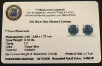 Blue Diamond .925 Sterling Silver Earrings at PristineAuction.com