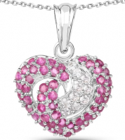 Ruby and White Saphire Heart .925 Sterling Silver Necklace at PristineAuction.com