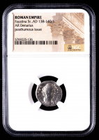 Faustina Sr.  AD 138-140/1 - AR Denarius - Roman Empire Silver Coin - Posthumous Issue (NGC Encapsulated) at PristineAuction.com