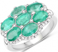 Zambian Emerald and Zircon .925 Sterling Silver Ring at PristineAuction.com