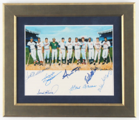 500 Home Run Club 13x15 Custom Framed Print Signed by (8) with Ted Williams, Hank Aaron, Willie Mays, Reggie Jackson (JSA ALOA) at PristineAuction.com