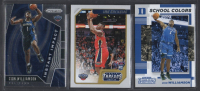 Lot of (3) Zion Williamson Basketball Cards with 2019-20 Panini Prizm Instant Impact #2, 2019-20 Panini Chronicles #78 / Threads RC & 2019-20 Panini Contenders Draft Picks School Colors #1 at PristineAuction.com