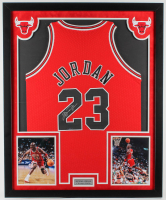 Michael Jordan Signed Bulls 32x39 Custom Framed 1996-1997 Mitchell & Ness Jersey Display (Upper Deck COA) at PristineAuction.com
