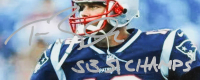 """Tom Brady Twice-Signed Patriots 32x39 Custom Framed Official Reebok On Field NFL Jersey Twice-Inscribed """"3X SB Champions"""" (TriStar) at PristineAuction.com"""