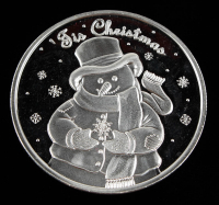 """2005 """"'Tis Christmas"""" .999 One Troy Ounce Fine Silver Bullion Round at PristineAuction.com"""