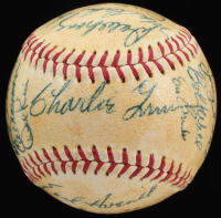 1960 Cubs ONL Baseball Team Signed by (24) with Charlie Grimm, Earl Averill Jr., Frank Thomas, Tony Taylor, Art Schult (JSA ALOA) at PristineAuction.com