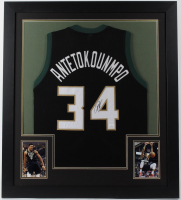 Giannis Antetokounmpo Signed 31x35 Custom Framed Jersey (JSA COA) at PristineAuction.com