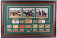 "Jean Cruget, Ron Turcotte & Steve Cauthen Signed ""Triple Crown Winners"" 30.5x45 Custom Framed Photo Display with (9) Kentucky Derby Tickets (JSA ALOA) at PristineAuction.com"