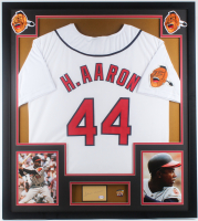 Hank Aaron Signed Braves 32x36 Custom Framed Cut Display with 25th Anniversary Pin (PSA COA) at PristineAuction.com