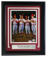 "Reds ""Big Red Machine"" 11x14 Custom Framed Photo Display Signed By (4) With Pete Rose, Joe Morgan, Johnny Bench, & Tony Perez (PSA LOA) at PristineAuction.com"
