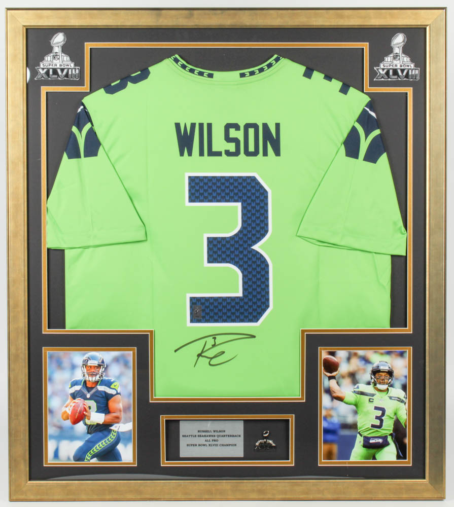 Russell Wilson Signed Seahawks 32x36 Custom Framed Jersey With ...