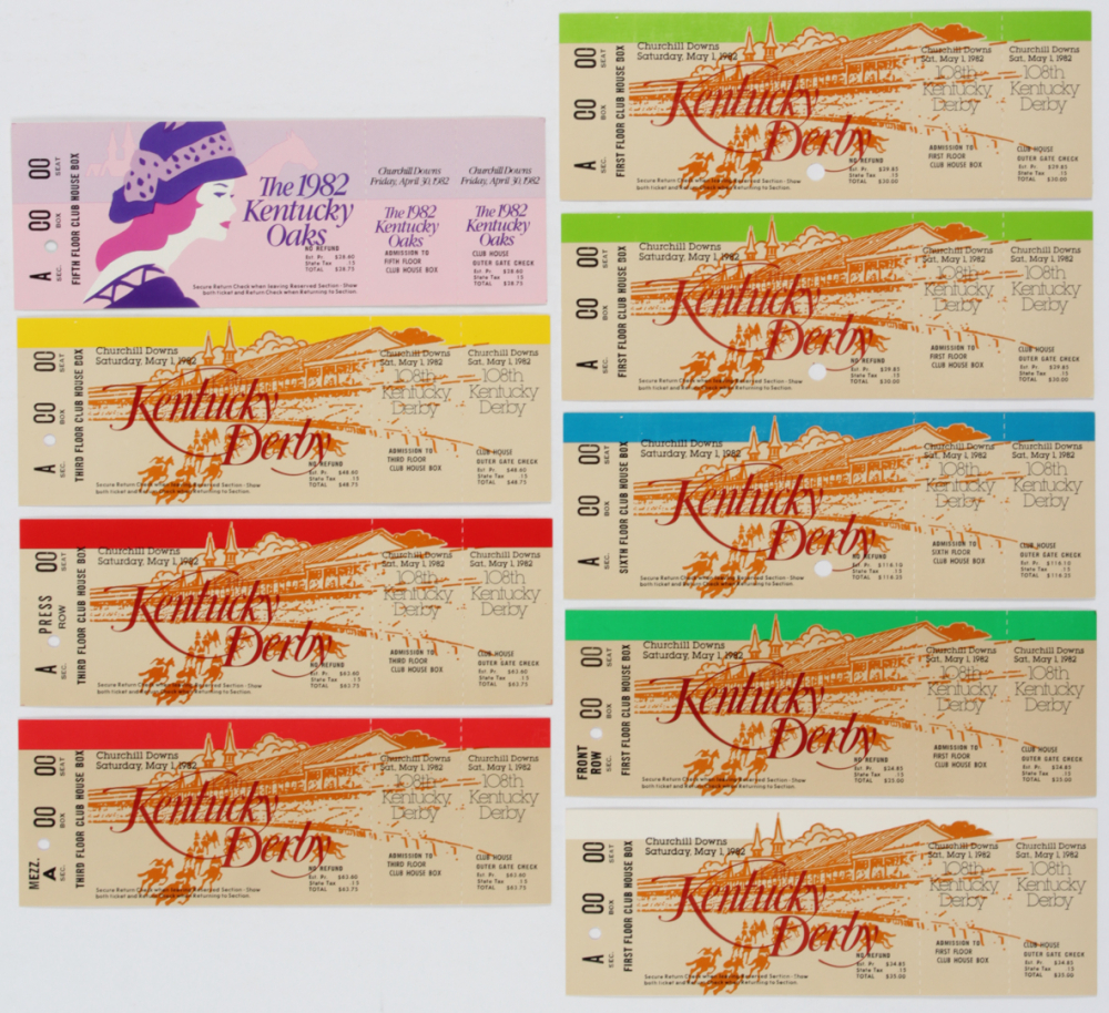 Lot of (9) 1983 Kentucky Derby Proof Tickets at PristineAuction.com