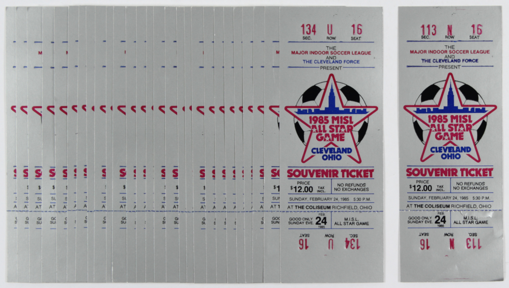 Lot of (28) Vintage 1985 Major Indoor Soccer League All-Star Game Tickets at PristineAuction.com