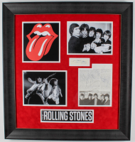 The Rolling Stones 28.5x30.5 Custom Framed Book Page Display Signed by (5) with Mick Jagger, Keith Richards, Bill Wyman, Charlie Watts, & Ronnie Wood (JSA LOA) at PristineAuction.com