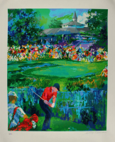 """LeRoy Neiman Signed LE 34x41 """"Tiger  Woods"""" Textured Print On Lithograph (PSA COA) at PristineAuction.com"""