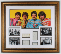 The Beatles 31x35 Custom Framed Book Page Display Signed by (6) with Ringo Starr, Paul McCartney, John Lennon, George Harrison, George Martin, & Pete Best (JSA LOA) at PristineAuction.com