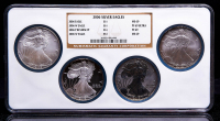 Set of (4) NGC Graded 2006 American Silver Eagle Coins with 2006 (MS69), 2006-W (PF69 Ultra Cameo), 2006-P Reverse Proof (PF69) & 2006-W (MS69) at PristineAuction.com
