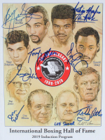 """International Boxing Hall of Fame Induction Program signed By (8) with Buddy McGirt, Tony DeMarco, Guy Jutras, Don Elbaum, Julian """"The Hawk"""" Jackson, Donald Curry (JSA ALOA) at PristineAuction.com"""