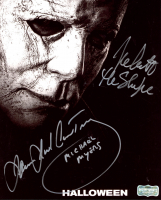"""James Jude Courtney & Nick Castle Signed """"Halloween"""" 8x10 Photo Inscribed """"Michael Myers"""" (Radtke COA) at PristineAuction.com"""