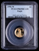 1996-W American Gold Eagle $5 Five Dollar 1/10 oz Gold Coin (PCGS PR69 Deep Cameo) at PristineAuction.com