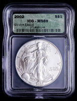 2002 American Silver Eagle $1 One Dollar Coin (ICG MS69) at PristineAuction.com