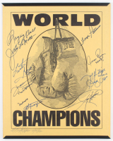 """""""World Champions"""" Boxing 16x20 Custom Framed Poster Display Signed by (11) with Muhammad Ali, Joe Frazier, Ken Norton, Floyd Patterson, Larry Holmes (JSA ALOA) at PristineAuction.com"""
