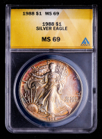 1988 American Silver Eagle $1 One Dollar Coin (ANACS MS69) (Toned) at PristineAuction.com