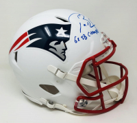 """Tom Brady Signed Patriots Full-Size Authentic On-Field Matte White Speed Helmet Inscribed """"6x SB Champs"""" (Fanatics Hologram) at PristineAuction.com"""