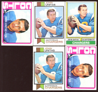 Lot of (5) John Unitas Football Cards With (2) 1972 Topps #165, (2) 1973 Topps #455 & (1) 1974 Topps #150 at PristineAuction.com