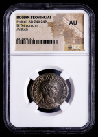 Philip I (AD 244-249) Ancient Roman Provincial - AR Silver BI Tetradrachm (NGC About Uncirculated) at PristineAuction.com