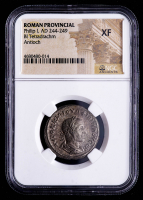Philip I (AD 244-249) Ancient Roman Provincial - AR Silver BI Tetradrachm (NGC Extremely Fine) at PristineAuction.com
