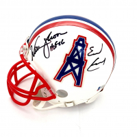 "Warren Moon & Earl Campbell Signed Oilers Throwback Mini Helmet Inscribed ""HOF 06"" (Beckett COA) at PristineAuction.com"
