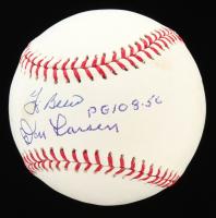 """Don Larsen & Yogi Berra Signed OML Baseball Inscribed """"PG 10-8-56"""" (JSA COA) at PristineAuction.com"""