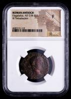 Elagabalus (AD 218-222) Ancient Roman Antioch - AR Silver BI Tetradrachm (NGC Fine) at PristineAuction.com