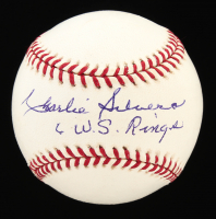 "Charlie Silvera Signed OML Baseball Inscribed ""6 W.S. Rings"" (JSA COA) at PristineAuction.com"