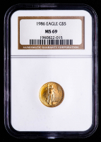 1986 American Gold Eagle $5 Five Dollar 1/10 oz Gold Coin (NGC MS69) at PristineAuction.com