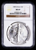 1989 American Silver Eagle $1 One Dollar Coin (NGC MS69) at PristineAuction.com