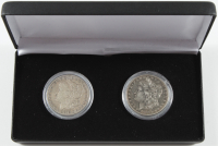 Set of (2) Morgan Silver Dollars with 1878-S & 1878 7TF with Display Case at PristineAuction.com