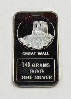 "10 Grams .999 Silver ""Great Wall of China"" Bullion Bar at PristineAuction.com"
