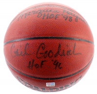 NBA Basketball Signed by (4) with Gail Goodrich, Elgin Baylor, Marques Haynes, and James Worthy With Multiple Inscriptions (PSA Hologram & JSA COA) at PristineAuction.com