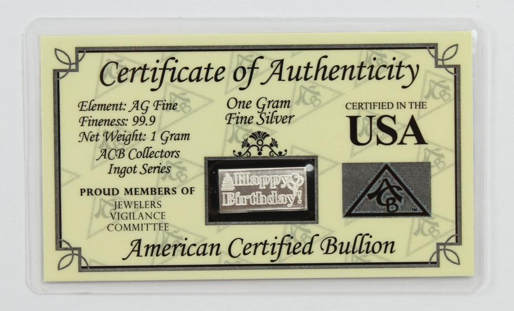 "1 Gram .999 Fine Silver ""Happy Birthday"" Bullion Bar at PristineAuction.com"