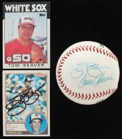 Lot of (3) Jim Palmer & Tom Seaver Items with Jim Palmer & Tom Seaver Signed Baseball, Jim Palmer Signed 1983 Topps #490 & Tom Seaver 1986 Topps #390 (JSA ALOA) at PristineAuction.com