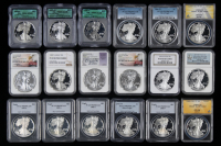 Lot of (18) Graded American Silver Eagle $1 One Dollar Coins (NGC, PCGS, ANACS & ICG) at PristineAuction.com