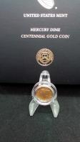 2016-W Mercury Dime 1/10 o=Oz. 24Kt .999 Gold Centennial Gold Coin at PristineAuction.com