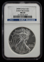 2008 American Silver Eagle $1 One-Dollar Coin - Early Releases (NGC MS69) at PristineAuction.com