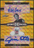 Ray Guy / Jim Otto 2018 Leaf Metal Sports Heroes Dual Black Etched Gold Circles #DA08 at PristineAuction.com