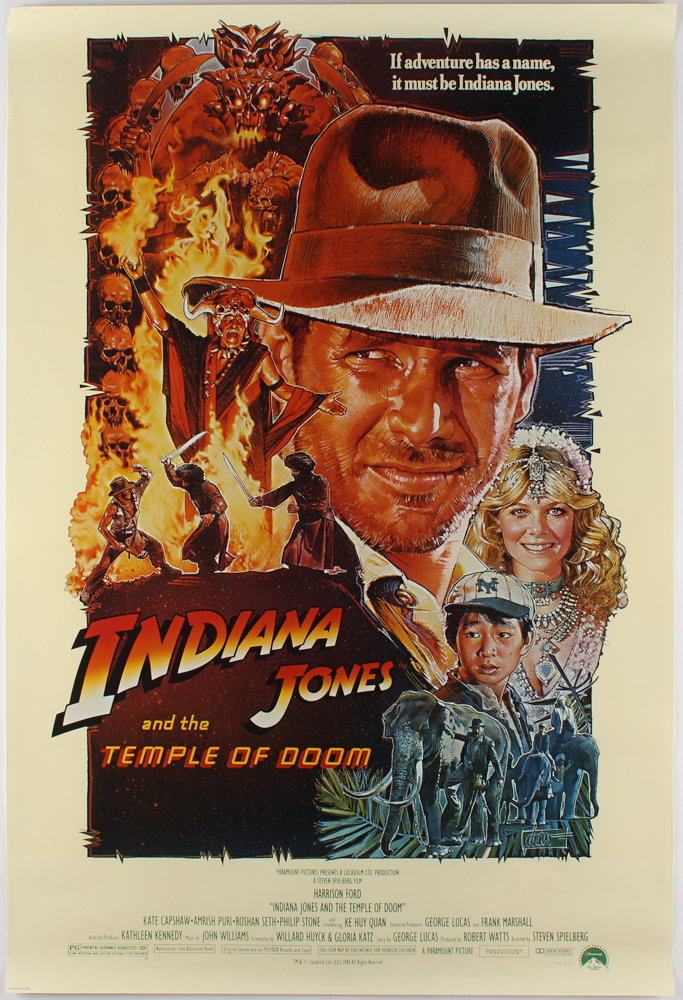 """""""Indiana Jones and the Temple of Doom"""" 27x40 Movie Poster at PristineAuction.com"""