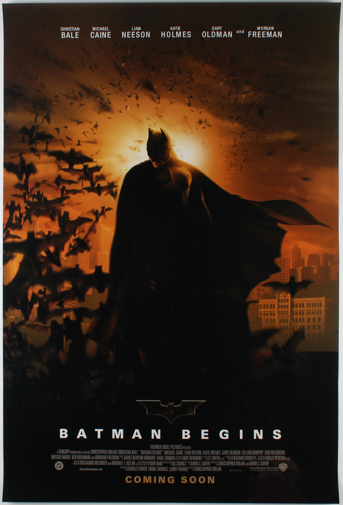 """Batman Begins"" 27x40 Teaser Movie Poster at PristineAuction.com"