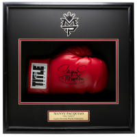 "Manny Pacquiao Signed 18x19x4 Custom Framed Boxing Glove Shadowbox Display Inscribed ""Pacman"" (Beckett COA) at PristineAuction.com"
